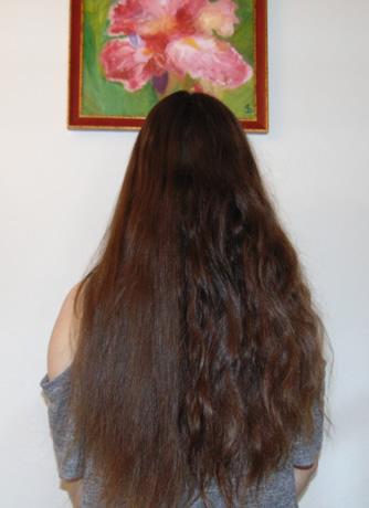 Слева – нанесен бальзам Botox Hair Therapy de Luxe balsam.